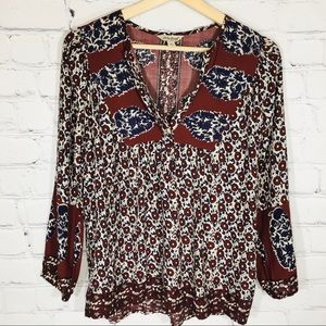 LUCKY Brand Boho Blouse Top Women's SMALL EUC
